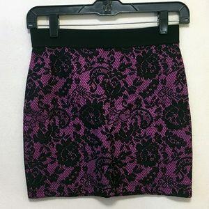 Black & Purple Lace Mini Skirt